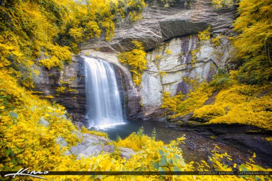 Looking Glass Falls Brevard North Carolina Golden Folaige