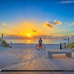 Miami South Beach Sunrise Man on Bicycle South Pointe Pier