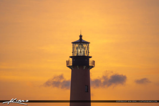Jupiter Inlet Lighthouse Sunrise Closeup with Light