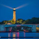 Jupiter Lighthouse Light Rays Blue Cool Night