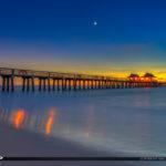 Naples Fishing Pier Sunset Over Gulf Coast Florida
