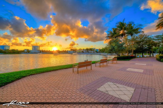 Benches Downtown at the Gardens Sunset Lake Victoria PBG