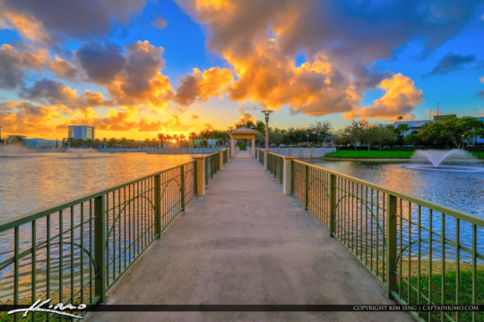 Walkway Downtown at the Gardens Sunset Lake Victoria PBG