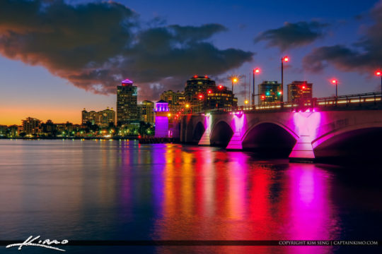 West Palm Beach Breast Cancer Awareness Royal Park Bridge Lights