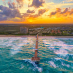 Juno Beach Pier Sunset Aerial Photography