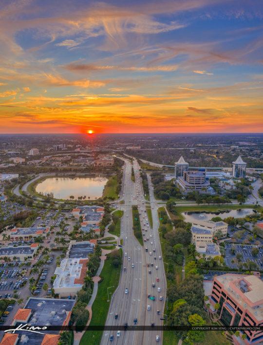 Palm Beach Gardens Sunset Over PGA Blvd Skyline