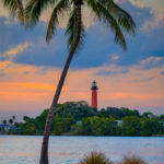 Jupiter Inlet Lighthouse from Dubois Park Pink Clouds