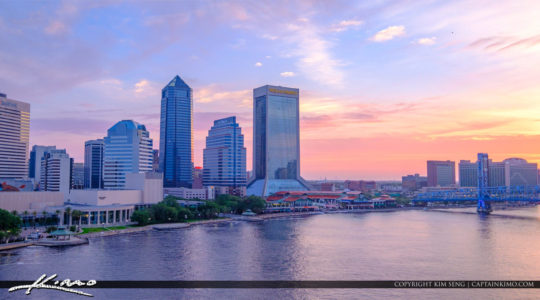 Jacksonville Skyline View from Acosta Bridge Florida