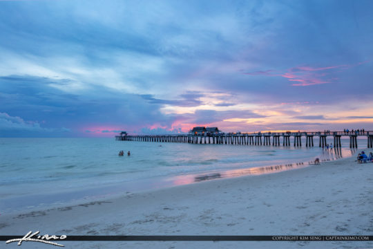 Naples Beach Pier Sunset Gloomy Clouds