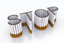 In this picture the word STOP is formed out of cigarettes.
