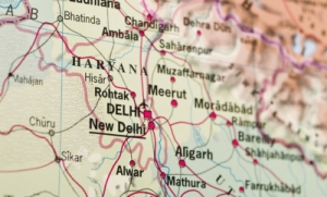 A map with Delhi in focus and other cities out of focus