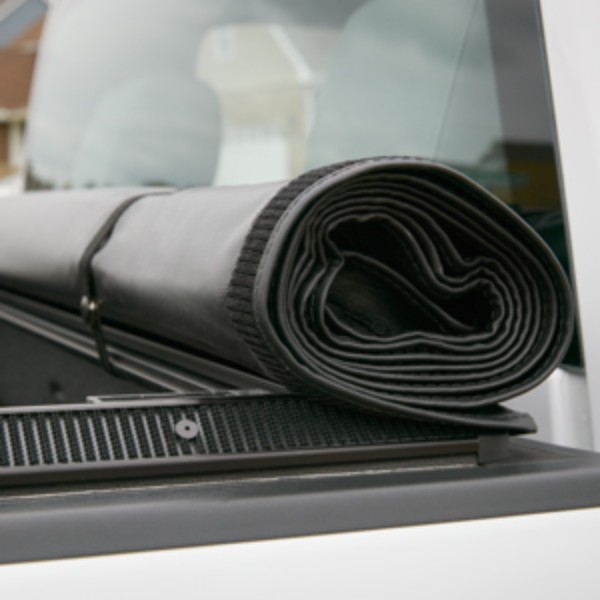 Tonneau Cover Soft Roll Up Black With Embossed Bowtie