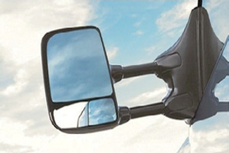Telescoping Trailer Tow Mirror, Skull Cap
