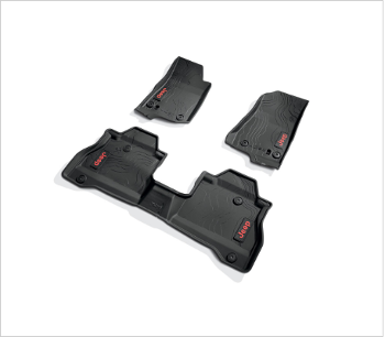 2020-2021 Jeep Gladiator JT Black All Weather Rubber Floor Mats Red Lettering Mopar OEM - Mopar (82215626AC)
