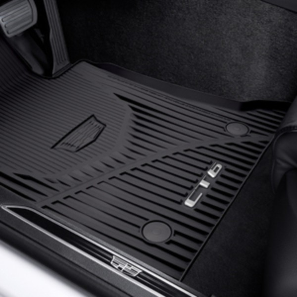 Front and Rear Premium All-Weather Floor Mats in Black with Cadillac Logo and CT6 Script