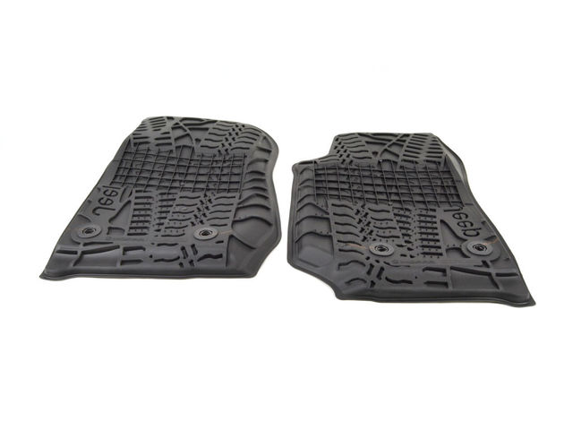 Floor Mats, Jeep Logo, Slush, Front, Black - Mopar (82213861)
