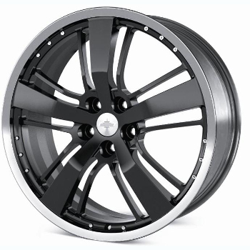 "21"" Wheel, Black Painted, Polished Rim"