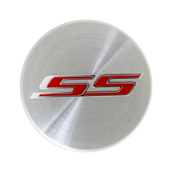 Wheel Center Caps, Brushed aluminum finish with red SS (SOLD INDIVIDUALLY)