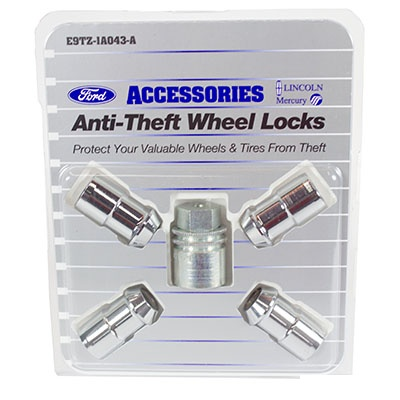 Wheel Locks, Chrome For Exposed Lugs - Ford (E9TZ-1A043-A)