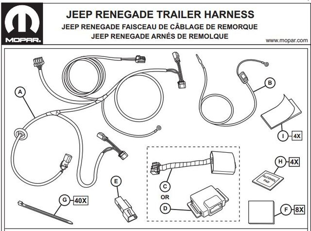 trailer tow wiring harness - 4-way - mopar (82214685ac)