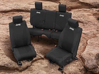 JEEP FRONT SEAT COVERS BLACK WET SUIT - MOPAR (82212228)