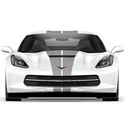 CORVETTE COUPE SILVER FULL LENGTH DUAL RACING STRIPE PACKAGE - GM (22989112)