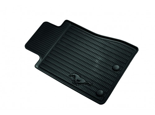 2011-2014 Ford Mustang Floor Mats All-Weather Vinyl Floor Mats, Black, Dual Button