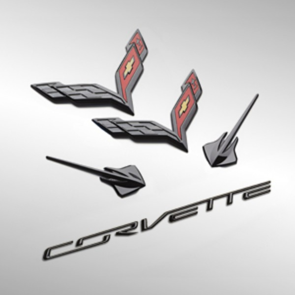 2014-2017 C7 Corvette Genuine GM Carbon Flash Black Emblem Kit - GM (23465587)