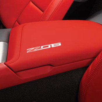 2015 -2016 Corvette Center Console Lid, Z06 Logo, Red w/ red stitch Napa Leather (TRIM COMBINATIONS - 705, 70I) - GM (23296457)