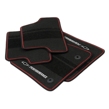 2016 Chevrolet Camaro Front & Rear Floor Mats Gray Binding With Performance Logo