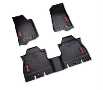 Floor Mats, All-Weather, Red Jeep Logo - Mopar (82215202AE)