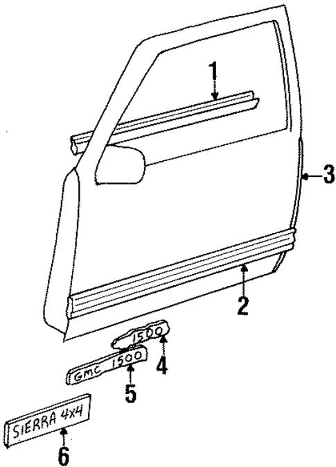 Exterior Trim Front Door For 1990 Chevrolet C1500