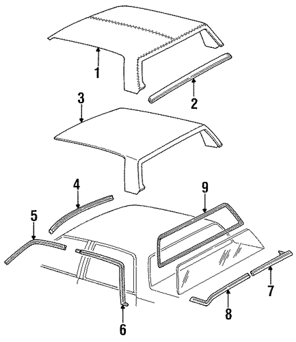 ROOF Parts For 1989 Cadillac DeVille