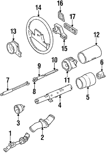 steering column & wheel parts for 1989 cadillac eldorado 1992 cadillac eldorado wiring diagram #13