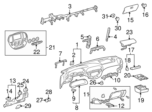 genuine oem instrument panel parts for 2005 toyota sequoia. Black Bedroom Furniture Sets. Home Design Ideas