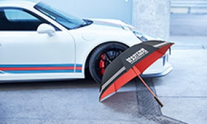 Porsche umbrella and other outdoor items.