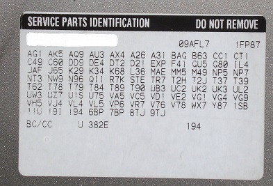 General Motors RPO Code List