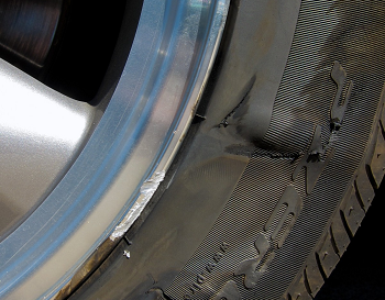 Make sure to check your tires for damage after hitting curb or other object.