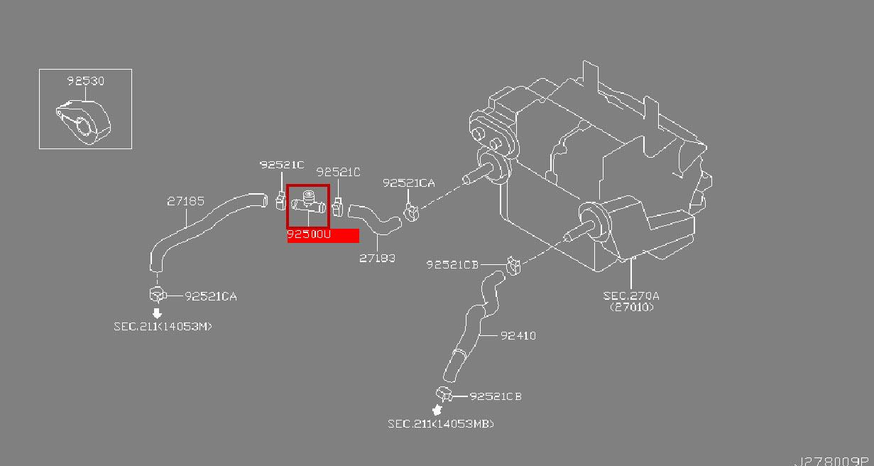 Infiniti Connector Heater Hose 92500 Ar000 Infiniti Parts Online