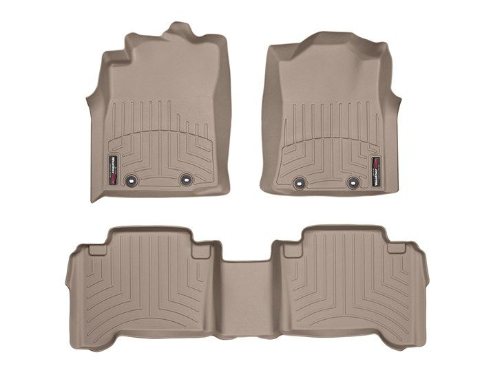 Tacoma WeatherTech Floor Liners 2005-2011 Model Double Cab Tan Front & Rear W/Passenger Retention