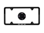 Black Slimline Plate Frame & M Logo Valve Stem Caps Set