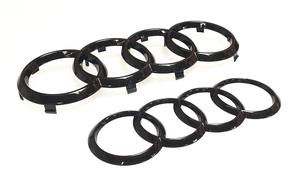A4/S4 Black Rings Logo/Emblem Set, 2016-2018 - Audi (ZAW-098-010-C-DSP)