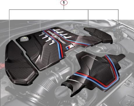 F90 M5/M5 LCI, F91/92/93 M8 M Performance Carbon Fiber Engine Cover Carbon Extension Set - BMW (11-12-2-455-570)
