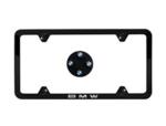 Black Slimline Plate Frame & BMW Roundel Valve Stem Caps Set