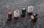 Valve Stem Caps Set - Black with Colored Porsche Crest - Porsche (991-044-602-66)