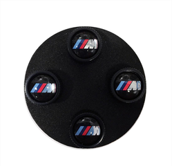 M Logo Valve Stem Caps Set with Black Body - BMW (36-12-2-456-427)