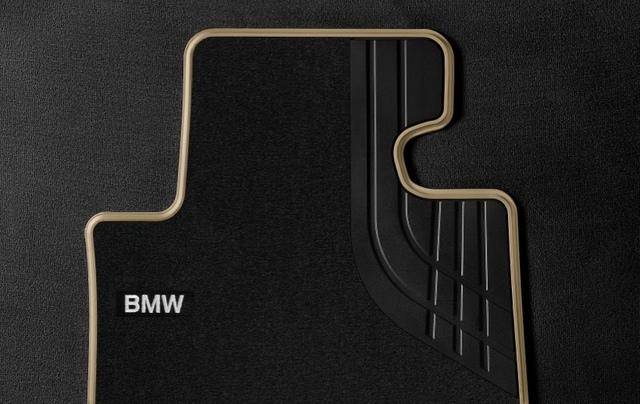 F32/33/36 4 Series, F82/83 M4 Carpeted Floor Mats, Rear - Modern Line (Black/Beige) - BMW (51-47-2-348-219)