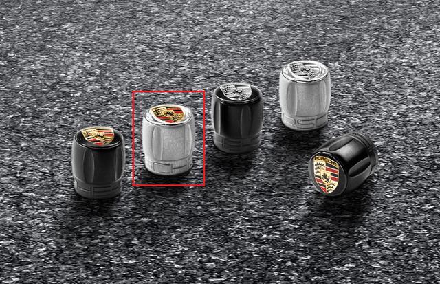 Valve Stem Caps Set - Silver Aluminum caps with Colored Porsche Crest (TPM) - Porsche (991-044-602-69)