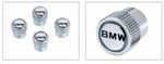"""BMW"" Lettering Valve Stem Caps - Black Lettering on Silver Background - BMW (36-11-0-421-542)"