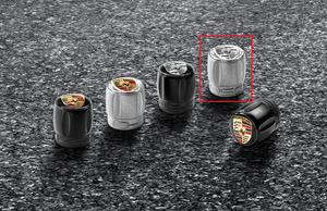 Valve Stem Caps Set - Silver Aluminum caps with Monochrome Porsche Crest (TPM) - Porsche (991-044-602-68)